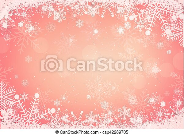 Snowflake border with snow hills background - csp42289705
