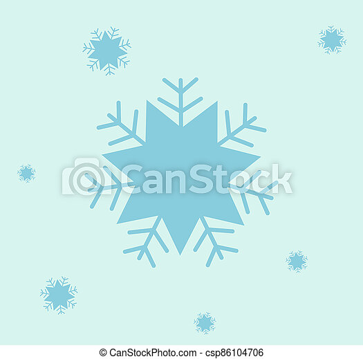 Snowflake icon. Christmas and winter theme. Simple flat blue illustration on white background. - csp86104706