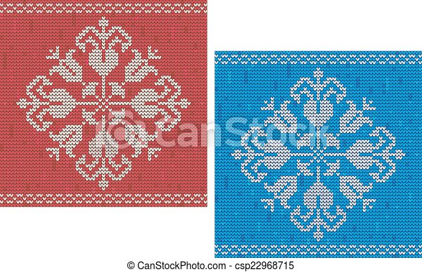 Snowflake Knitted Pattern Red And Blue Detailed Snowflake Knitted