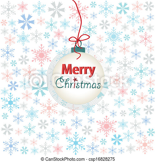 snowflake, merry christmas card - csp16828275