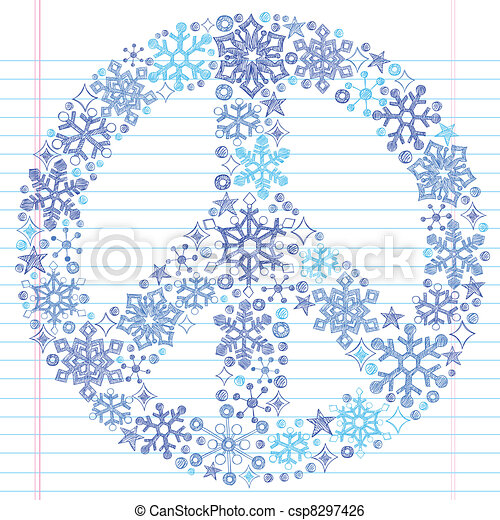 Snowflake Peace Sign Sketchy Doodle - csp8297426