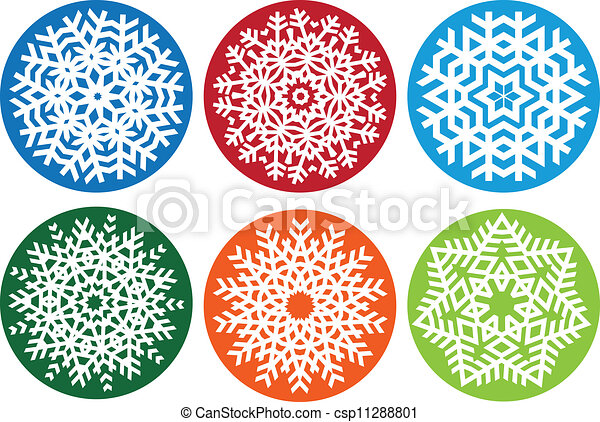 Snowflake set, vector  - csp11288801