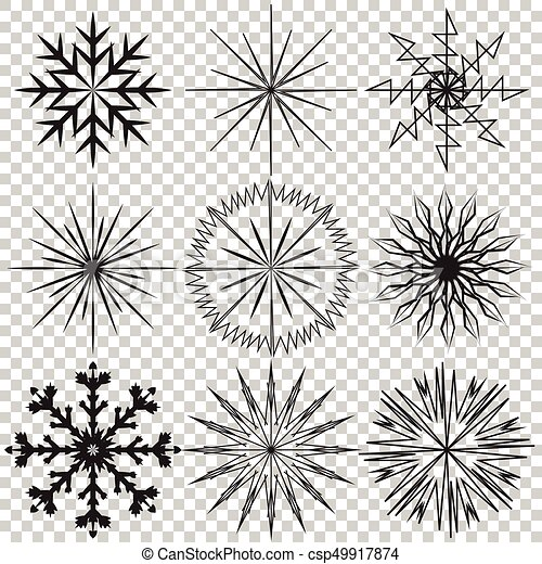 snowflake vector icon set on transparent background vector rh canstockphoto com snowflake white vector snowflake vector image