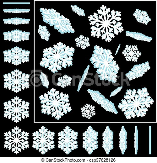 Snowflakes 3D Vector Illustrations Set - csp37628126