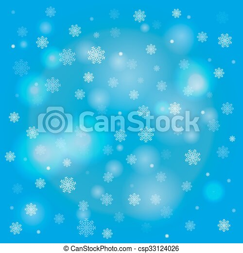snowflakes and blurry lights on blue background snowflakes and