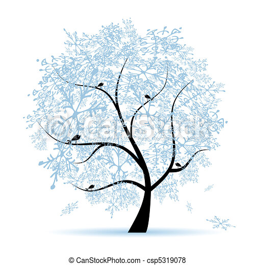 snowflakes., arbre, holiday., hiver, noël - csp5319078