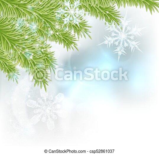 Snowflakes Christmas Tree Background - csp52861037