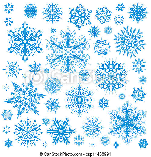 Snowflakes Christmas vector icons. Snow flake collection graphic art - csp11458991