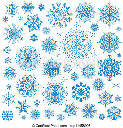 Snowflakes Christmas vector icons. Snow flake collection graphic art - csp11458995