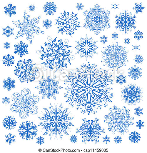 Snowflakes Christmas vector icons. Snow flake collection graphic art - csp11459005