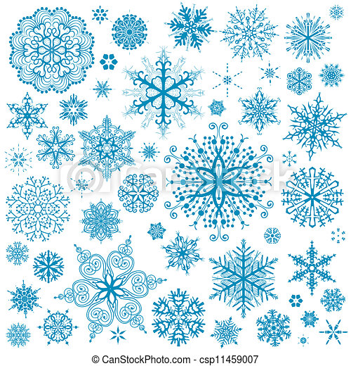Snowflakes Christmas vector icons. Snow flake collection graphic art - csp11459007