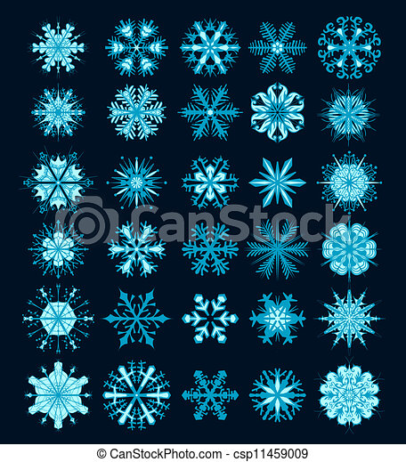 Snowflakes Christmas vector icons. Snow flake collection graphic art - csp11459009