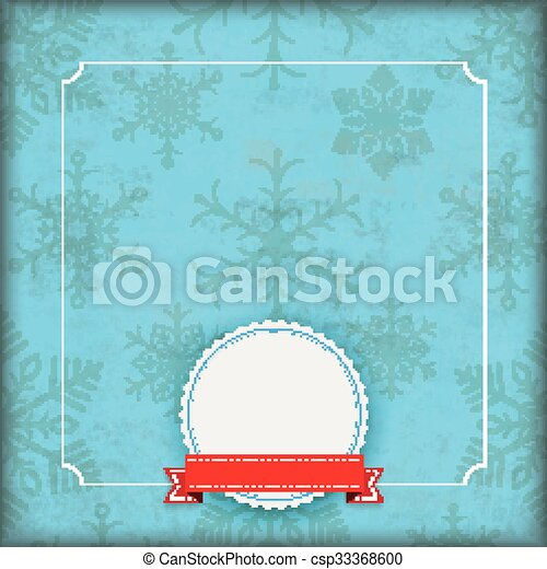snowflakes, cobertura, emblema, azul, inverno, vindima - csp33368600