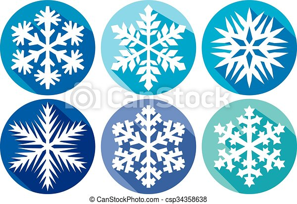 Snowflakes flat icons collection - csp34358638