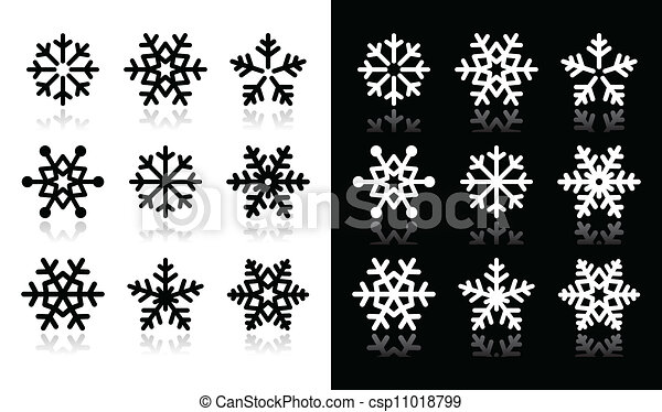 Snowflakes icons with shadow on bla - csp11018799