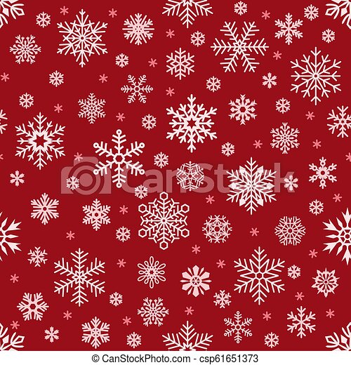 Snowflakes pattern. Christmas falling snowflake on red backdrop. Winter holiday snow seamless vector background - csp61651373