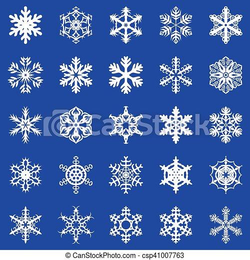 Snowflakes set on blue background - csp41007763