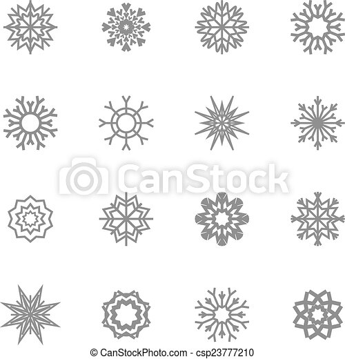 Snowflakes set. winter and christmas theme. Vector illustration. EPS10. - csp23777210