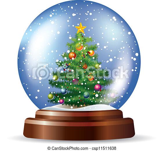 Snowglobe with Christmas tree - csp11511638