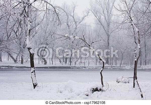 Snowing landscape in the park - csp17962108