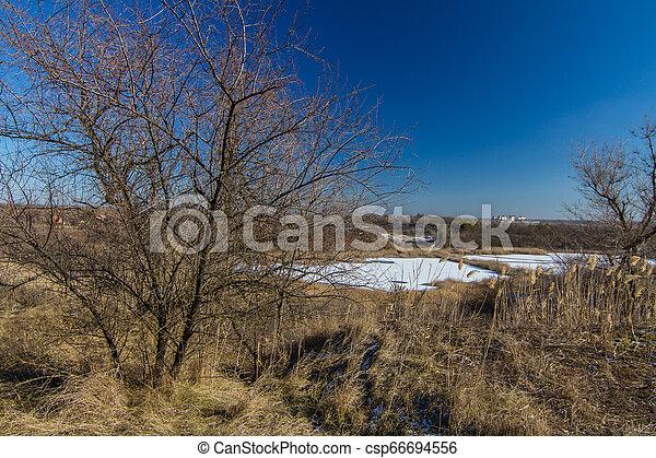 snowless, paisagem inverno, manhã - csp66694556