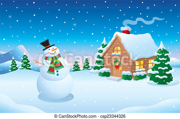 snowman and cabin snow scene cartoon illustration of a snowman in rh canstockphoto com snowy scene clip art snow scene clip art free