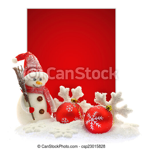 Snowman and Christmas ornaments in front of a red paper card - csp23015828