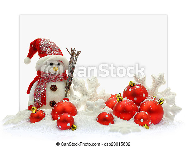 Snowman and Christmas ornaments in front of a paper card - csp23015802