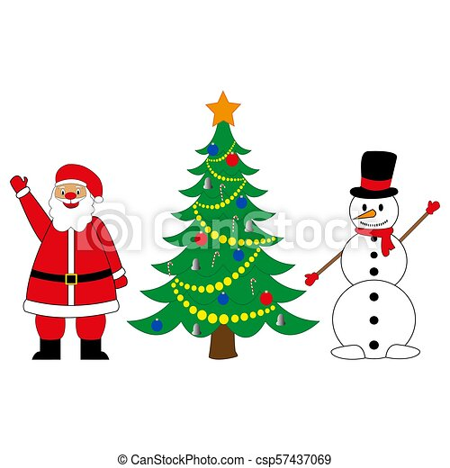 Snowman And Santa Claus With Christmas Tree On White Background