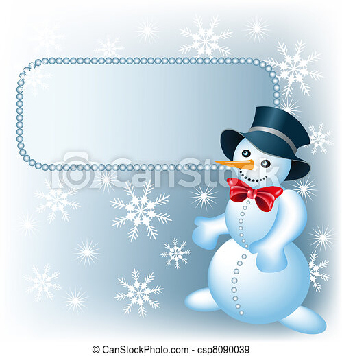 Snowman and signboard - csp8090039