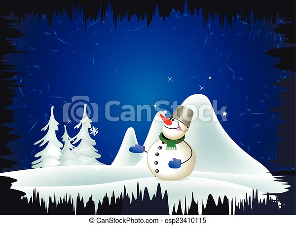 snowman and winter landscape - csp23410115