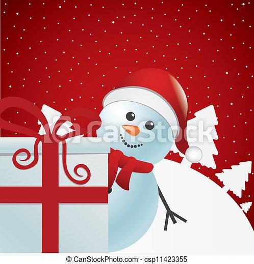 snowman behind gift white winter - csp11423355