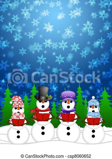 Snowing Christmas Scene.Snowman Carolers Singing With Winter Snowing Scene Illustration