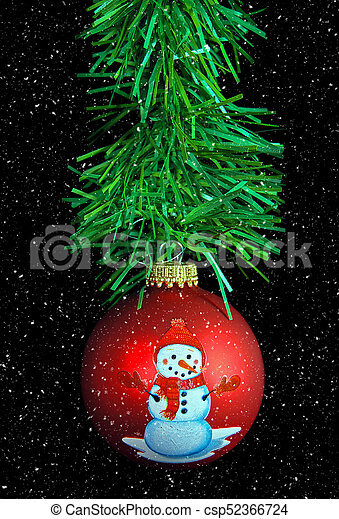 snowman Christmas ornament with snowflake - csp52366724