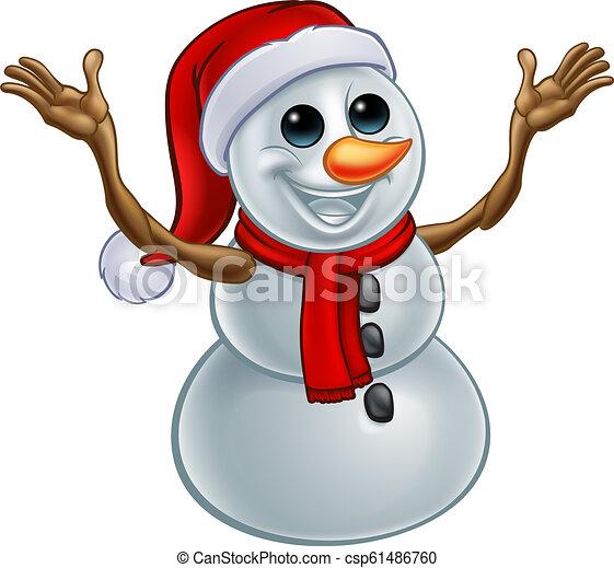Christmas Cartoon Drawings.Snowman Christmas Santa Hat Cartoon