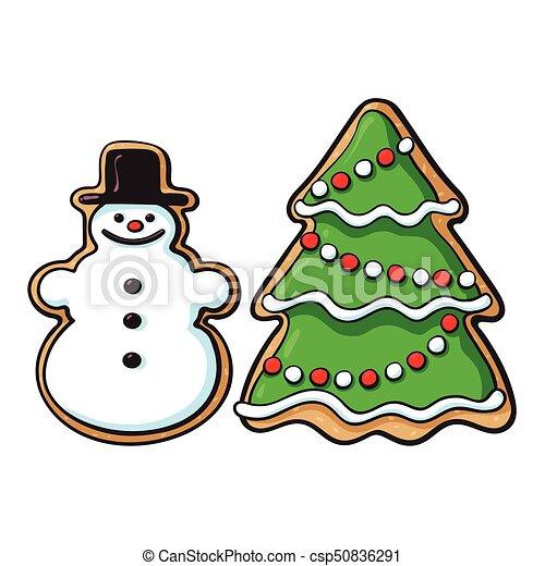 Snowman Christmas Tree Glazed Gingerbread Cookies Glazed Snowman