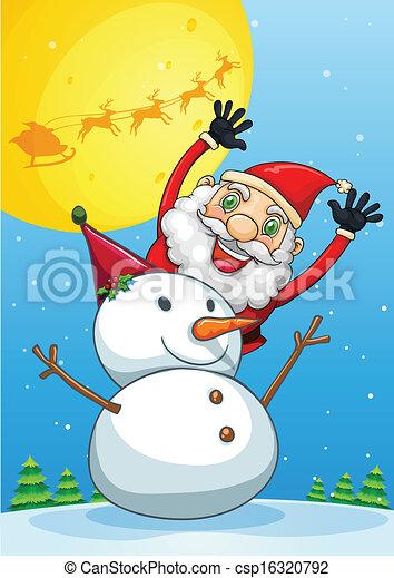 Un feliz Santa Claus en la parte trasera del muñeco de nieve - csp16320792