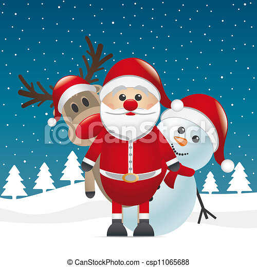 Nariz roja de reno Santa Claus Snowman - csp11065688