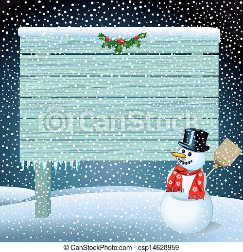 Snowman con letrero de madera - csp14628959