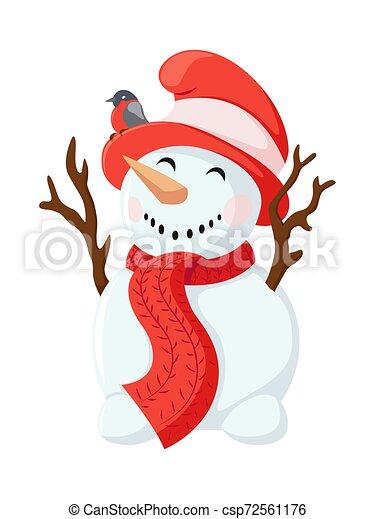 Raro Hombre De Nieve Con Una Zanahoria En Lugar De Una Nariz Y Ramas En Lugar De Manos Snowman En Vector De Sombrero Canstock He venido aquí a buscar gresca. raro hombre de nieve con una zanahoria