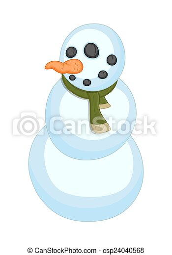 Divertido vector de personaje de muñeco de nieve - csp24040568