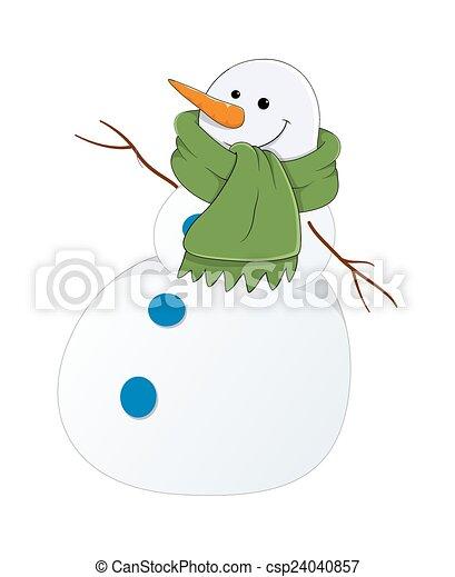 Divertido vector de hombre de nieve - csp24040857