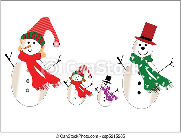 snowman family snowman and family on white for christmas clipart rh canstockphoto com Snowman Mouth Clip Art snowman family clipart