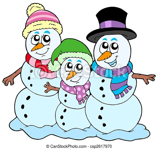 snowman family on white background isolated illustration stock rh canstockphoto com  snowman family clipart