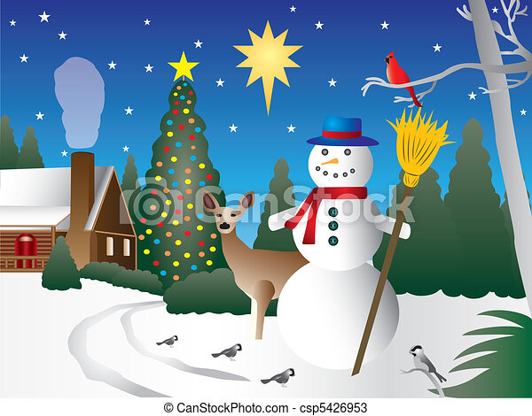 snowman in christmas scene snowman in front of a house with snow rh canstockphoto com christmas manger scene clipart christmas manger scene clipart