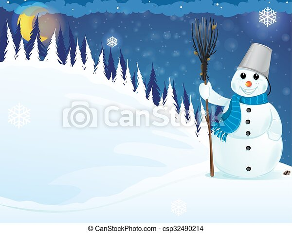 Snowman in the woods - csp32490214