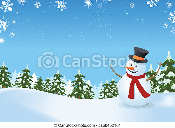 Snowman In Winter Landscape - csp8452161