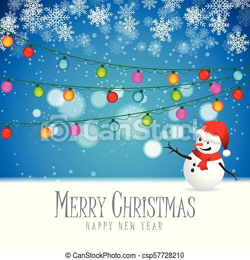 Snowman se quedó mirando las luces de Navidad. - csp57728210