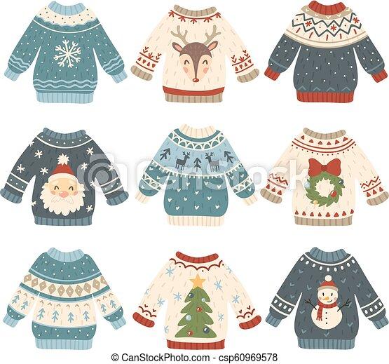 Sudaderas feas de Navidad. Un bonito jersey de lana. Un suéter de vacaciones de invierno con un gracioso muñeco de nieve, Santa y un vector de árboles de Navidad - csp60969578