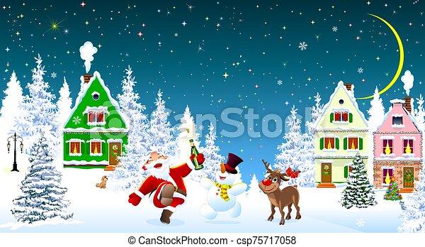 snowman, navidad, santa, venado, 1, claus, celebrar - csp75717058